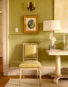 9 Fabulous Shades of Green Paint and One Common Mistake - laurel home | fabulous vignette by Sheila Bridges | paint color Churlish Green by Farrow and Ball