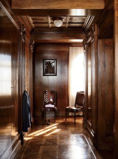 A walnut-lined dressing room in a villa outside Venice.