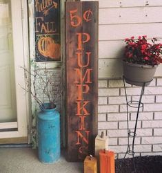 From DIY fall porch signs to fall porch planters, there are plenty of cozy and inviting fall porch ideas for inspiration. Fall Signs, Fall Pallet Signs, Fall Decor Signs, Fall Wood Signs, Pallet Ideas For Fall, Fall Decorations Diy, September Decorations, House Decorations, Thanksgiving Decorations