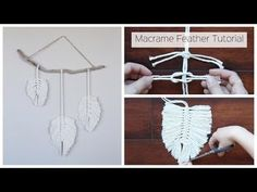 How To Make A Macrame Feather Wall Hanging - Tutorial For Beginners: In this tutorial, I show you how to create Macrame Feathers and assemble them into a wal. How To Make A Macrame Feather Wall Hanging - Tutorial For Beginners Uses the square knot and lar Pot Mason Diy, Mason Jar Crafts, Macrame Projects, Diy Projects, Craft Tutorials, Yarn Crafts, Diy And Crafts, Diy Y Manualidades, Wie Macht Man