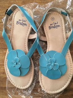 Girls Mini Boden Turquoise flower Sandals Shoes size 34 US 2.5 NEW ...