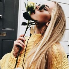 yellow, girl, and rose