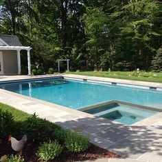 classic rectangular pool with automatic cover in pool spa option hardscape