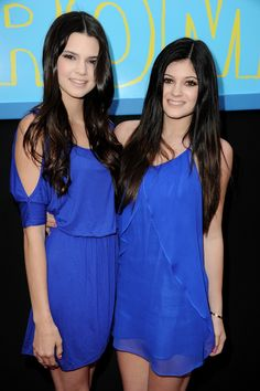 Love the blue dresses with their dark hair! So cute!