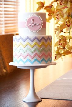 couture cupcakes & cookies - christening - christening cake - pastel chevron cake