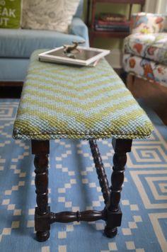 Bench upholstered with simple rag throw rug. www.ciburbanity.com