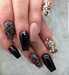 Lace nude pink and black gems