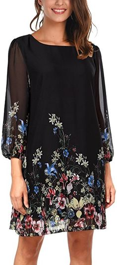 DJT Women's Floral Pattern 3/4 Sleeve Loose Fit Chiffon Tunic Dress Small Black Floral at Amazon Women's Clothing store: