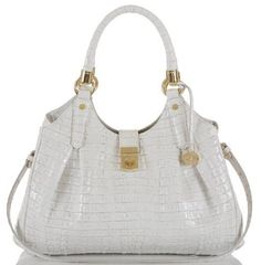 ❤ BRAHMIN ELISA HOBO SATCHEL MACAROON LA SCALA WHITE LEATHER SHOULDER BAG ❤ #Brahmin #Hobo