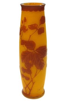 Antique Bohemian Red & Amber Cameo Glass Vase by Harrach of Bohemia