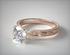 This 14K Rose Gold Engraved Solitaire Engagement Ring has  a delicately etched detailed engraving, creating a romantic dreamy kind of engagement ring that will be cherished for a life time.  | Ring style # 17488R14 on JamesAllen.com. Click to see this ring in 360° HD!