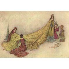 Works of Geoffrey Chaucer 1912 Griselda in cloth of gold Canvas Art - Warwick Goble (18 x 24)