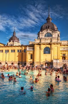 """Opposite the circus in City Park is the mustard-yellow, neo-Baroque edifice housing Europe's largest spa: Széchenyi Baths. It's cheaper than the Gellért Baths, & is generally regarded as being friendlier in atmosphere."" Hungary: the Bradt Guide; www.bradtguides.com"