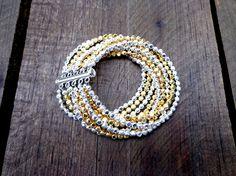 Multi Strand Silver & Gold Bracelet Statement by InBloomGallery, $45.00