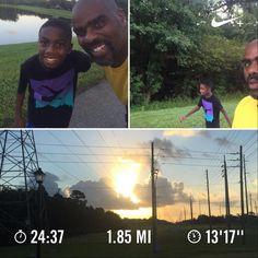 I had some company this morning. Took a shorter route so that he'd come back for more. #fatherandsonrun #blackmenrun #halfmarathontraining