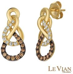 Zales Le Vian Chocolate Diamonds® 1/2 CT. T.W. Diamond Twist Drop Earrings in 14K Honey Gold™
