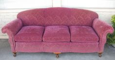 "1930's Sofa-Love the curves:) Nylon Frieze (frise') fabric. 80"" long and 32.5"" high."