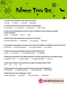On this page I am sharing Free Printable Halloween Trivia Quiz for Adults. I have made this game in three 4 different designs and I am also sharing the answer Free Halloween Movies, Halloween Games Adults, Halloween Facts, Easy Halloween Crafts, Halloween Activities, Halloween Fun, Monster Activities, Couple Halloween, Vintage Halloween