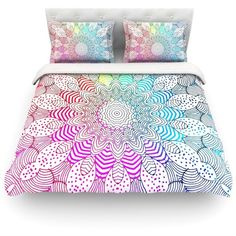 Rainbow Dots Light by Monika Strigel Duvet Cover Size: King/California... ($227) ❤ liked on Polyvore featuring home, bed & bath, bedding, duvet covers, beds, decor, rainbow bedding, king duvet, western king size bedding and polyester duvet