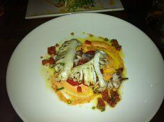 Grilled Calamari, Vine Ripened Tomatoes, Sherry Vinagrette, Azorean Pimento Aioli -  @Boehmer Restaurant