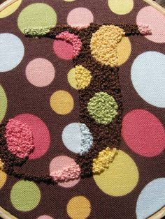 french knot monogram matches fabric print - so love this!
