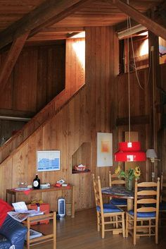Timber lined interior Exposed beams Sea Ranch Sea Ranch, Interior And Exterior, Interior Design, Art Deco, Wooden Buildings, Industrial, Space Interiors, Exposed Beams, Wood Texture