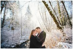 Engagement photos in the forest next to a river on Mt. Hood