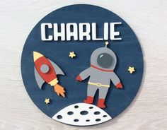 Your place to buy and sell all things handmade Painted Wooden Signs, Wooden Wall Art, Wooden Name Signs, Hand Painted, Painting For Kids, Drawing For Kids, Space Names, Space Baby Shower, Cute Cartoon Drawings