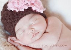 If I were to Ever have another Child; Great Gift Ideas Baby Girl Newborn Hat Chocolate Brown Pink by OopsIKnitItAgain, $21.00