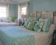 House of Turquoise: Jane Coslick Beach House Decor, Beach House Bedroom, Beach Room, Beach Condo, Home Bedroom, Bedroom Decor, Distressed Shutters, Repurposed Shutters, Beach Headboard