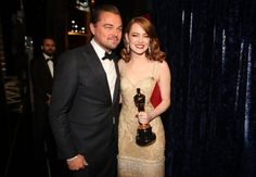 Leo DiCaprio and EmmaStone at the Oscars #Oscars #EmmaStone #LeonardoDiCaprio