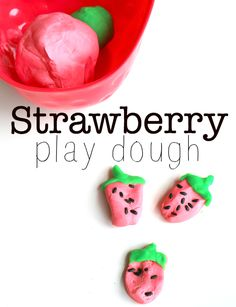 Strawberry play dough sensory activity for kids - make this after an afternoon of strawberry picking!