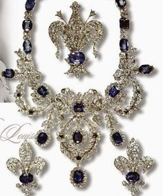 Sapphire Parure of the Marie-Louise Empress of France; not a tiara, but so royal. Royal Crown Jewels, Royal Jewelry, Old Jewelry, Antique Jewelry, Jewelry Box, Jewelery, Jewelry Accessories, Vintage Jewelry, Fine Jewelry
