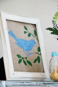 I am not big on burlap but I do love a blue bird!!--DIY Spring Burlap Art.