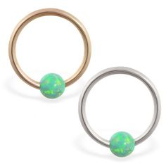 piercing real gold captive bead ring with green opal ball Helix Piercing Jewelry, Daith Piercing, Green Opal, Green Stone, Opal Color, Beaded Rings, Body Jewelry, Solid Gold, Turquoise Bracelet