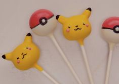 Gotta eat 'em all! These Pikachu cake pops are a tasty treat for Pokemon fans of all ages. Pokemon Cake Topper, Cake Toppers, Yellow Candy, Pink Candy, Pokemon Themed Party, Pikachu Cake, Lollipop Cake, Baby Birthday, Birthday Ideas