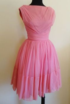 Lovely Pink Vintage 1950's Nylon Chiffon Party Dress