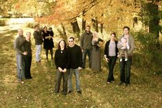 Fall Family Pictures....love how the families are split by family while all still being together in fam pic!