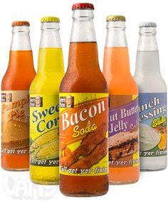 Ranch Dressing, Pumpkin Pie, Peanut Butter & Jelly, Buffalo Wing, Bacon, and Sweet Corn Sodas!  Say whaaat?!