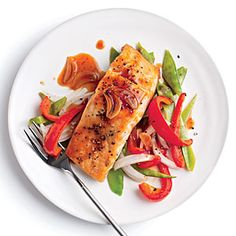 Quick Broiled Salmon with Vegetables | CookingLight.com #myplate #protein #veggies