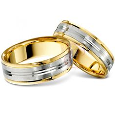 18ct White with Yellow Gold Wedding Ring Width 4mm