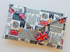 British Newspaper PrintUnion FlagClutch Purse by ditsybritishcraft