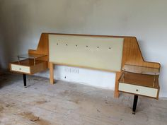 Vintage 1950s G-Plan Chinese White Continental headboard with pedestal tables