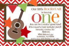 Rockstar First Birthday Invitation. $12.00, via Etsy.