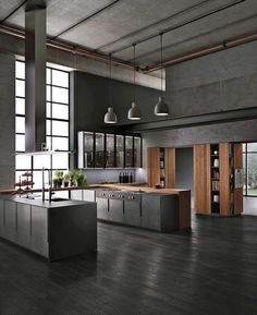 Luxury Kitchen Interior design ideas for a luxury kitchen decor. In this kitchen, you can see exciting design pieces. Take a look at the board and let you exciting! See more clicking on the image. Modern Industrial Decor, Industrial Kitchen Design, Industrial House, Interior Design Kitchen, Modern Interior Design, Interior Design Inspiration, Industrial Lighting, Modern Decor, Kitchen Decor