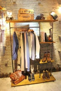 American retro wood floor racks hangers clothing store display shelf wrought iron to do the old water pipes
