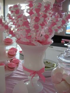 Taffy skewers; You can do this with any color taffy for any occasion. Its a great centerpiece and great for party favors..