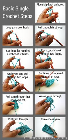 Basic Single Crochet | chaosandlove.com #crochet #tutorial