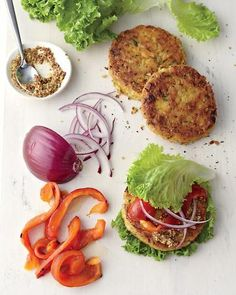 Chickpea-Brown Rice Veggie Burger, Wholeliving.com #detox #lunch