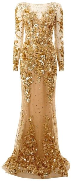 Zuhair Murad embroidered long train gown